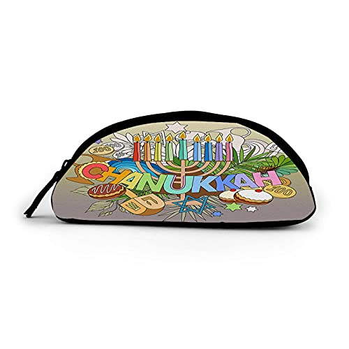 EKOBLA Hanukkah Semicircle Pencil Case Travel Cosmetic Bag Pencil Portable Case with Zipper Polyester