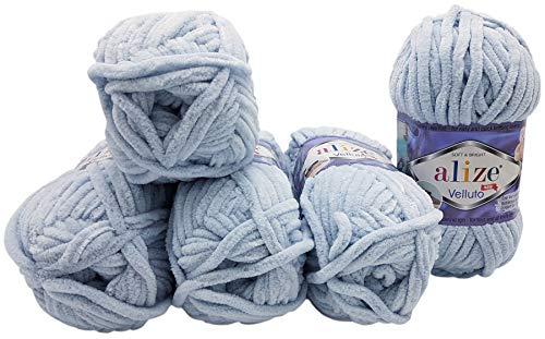 5 x 100 Gramm Alize Velluto Strickwolle, Babywolle , 500 Gramm Wolle Super soft Bulky (blaugrau 416)