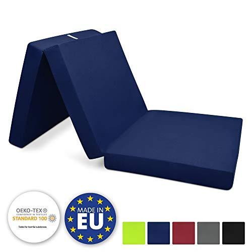 Beautissu opvouwbare matras 120x195 cm Campix - gastenbed zitblok opvouwbaar als reisbed & gasten opvouwbare matras in diverse kleuren rechthoekig 60x190x7 cm donkerblauw