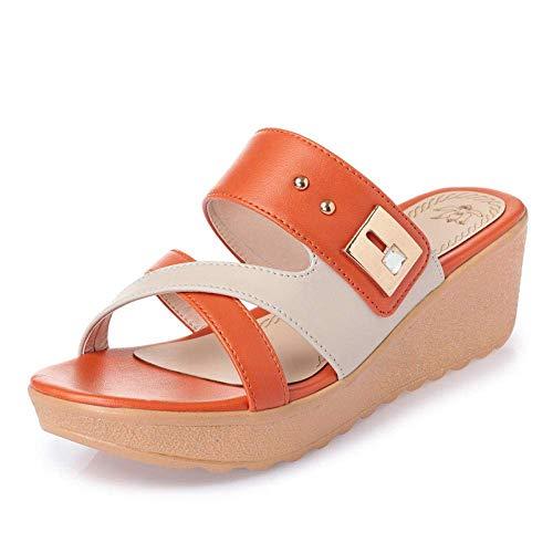 WXDP Pantuflas Calientes,Zapatillas de Ducha con Espalda Abierta, Chanclas para Mujer de Uso Exterior, Sandalias de Plataforma con tacón de Pendiente Media-Orange_37, Suelas de Espuma Gruesa ggsm