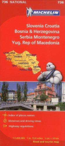 Michelin Slovenia, Croatia, Bosina & Herzegovina, Serbia, Montenegro, Yugoslavic Republic of Macedonia (Michelin Maps) [Idioma Inglés]: 736