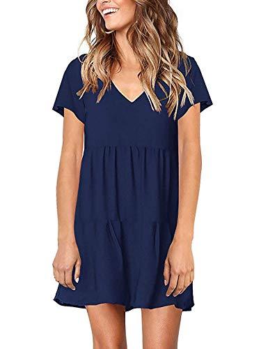 MISSLOOK Women's Short Sleeve Dress V Neck Ruffle Loose Mini Dress Swing Shift Dresses(Navy Blue-2,XXL)