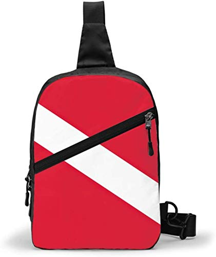 Scuba Dive Flag Sling Bag,Crossbody Shoulder Chest Outdoor Hiking Travel Personal Pocket Bag for Women Men Water Resistance