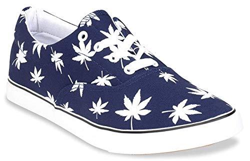 Hipster Mens Marijuana Weed Leaf Skate Shoe, Navy, 8 D(M) US