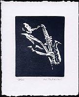 サックス奏者銅版画・ディープエッチング、作品のみ コレクション