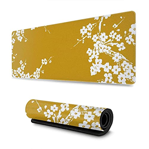 Mustard Yellow Plum Flower Gaming Mouse Pad XL Extended Large Mouse Mat Desk Pad Stitched Edges Mousepad Long Non-Slip Rubber Base Mice Pad 31.5 X 11.8 Inch