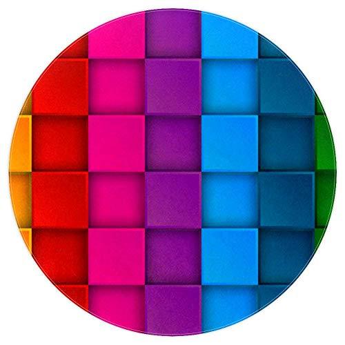 Bennigiry Teppich, bunt, Neon-Kontrastfarben, weich, rund, modern, Memory-Schaum, rutschfest, waschbar, für Wohnzimmer, Schlafzimmer, Spielzimmer, Spielzimmer, Kinderzimmer, 120 cm, multi, 5.2ft-160cm