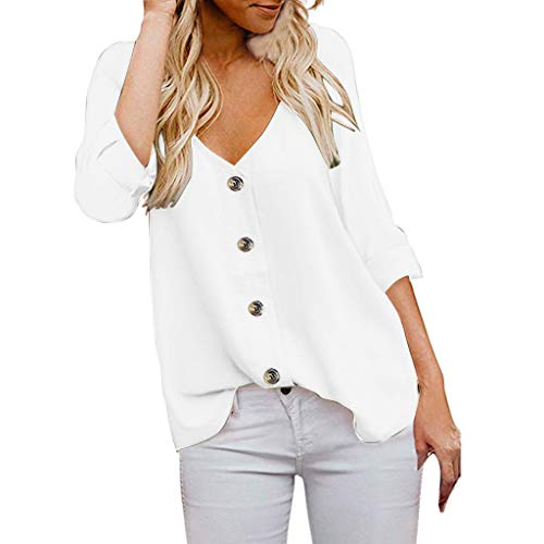 Battnot Damen Oberteile Schwarz Weiss Elegant Sexy, Frauen Bluse Knöpfe V-Ausschnitt Locker 3/4 Ärmel Casual Herbst Winter Freizeit Tops Pullover Pulli Hemd Oberseiten Womens Fashion Shirt S-XXL Grau