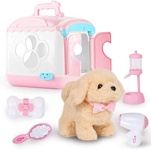 ZhanXiang Plush Electronic Toy Dog, Voice-Activated Carrier Dog House Care Pet Play Set. Walking, Barking, pet Toy Puppies and Accessories, for 3-6 Boys/Girls (Elina-Pink)