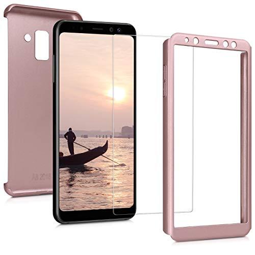 kwmobile Carcasa Compatible con Samsung Galaxy A8 (2018) - Funda Protectora con Protector de Pantalla - Cover con Protector Duro