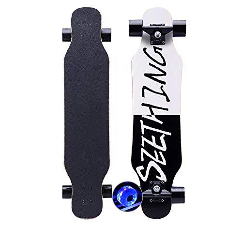 KHSKX Longboard Freestyle Dance Board Longboard Skateboard für Junge Erwachsene Anfänger Jungen und Mädchen-Blitz schwarz und weiß