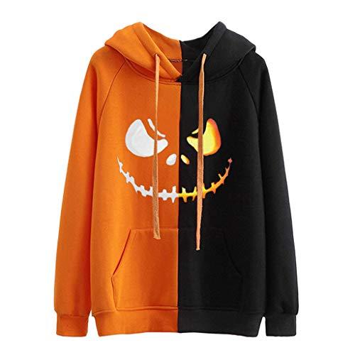 Gofodn Pullover Hoodie für Frauen Sweatshirts Casual Plus Size Lange Ärmel Halloween Damen Tops UK Lustig Pocket Tops Bluse Gr. XXL, Orange