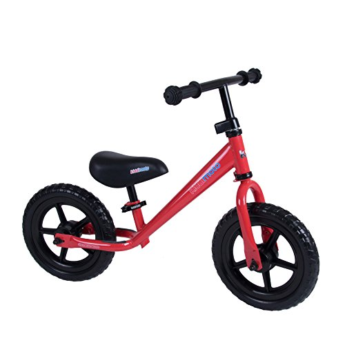 Kiddimoto Super Junior Premium Kinder Laufrad / Lauflernrad / Kinderlaufrad 12 Zoll mit Luftbereifung ab 18 Monate, Flamme Rot