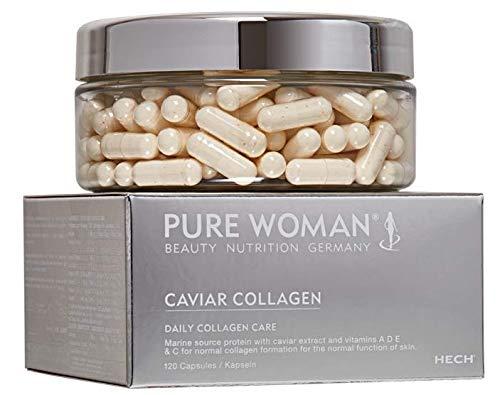 HECH Pure Woman Caviar Collagen Kapseln Nahrungsergänzungsmittel, 4-Vitamin-Komplex, mit Kaviar-Extrakt, marinen Kollagen-Peptiden, Inhalt: 120 Kapseln