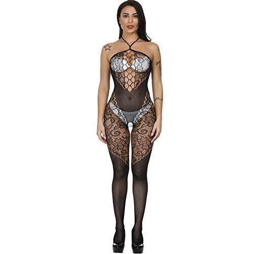 Papapai Ropa interior Fishnet Body Mujer Agujero Hueco Con Perspectiva Mini Vestido Suspender Falda Pijama