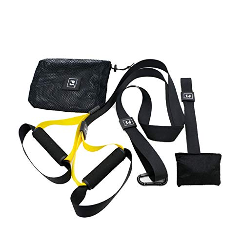 Exnemel Allenamento Sospensione Sling Trainer Set per Allenamento con Sistema di Ancoraggio per Porta, Regolabile per Fitness casa Viaggio l allenamento in Interni Estern (Casa- Nero Giallo)