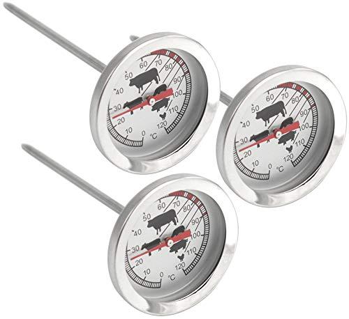 com-four® 3x Bratenthermometer aus Edelstahl - analoges Fleischthermometer bis 120 °C - Grillthermometer - Fleischnadel - 10 cm (003 Stück)