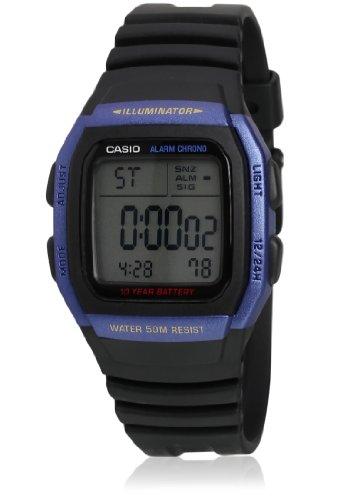 Reloj digital Casio W-96H-2AVDF, con luz, correa de plástico, esfera azul