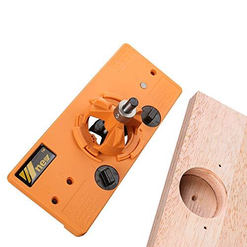 APROTII Guía de taladro de 35 mm oculta con bisagra y broca Forstner para carpintería, herramientas de bricolaje