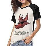 DCEGasc Five Nights at Freddy Deal with it - Camiseta de béisbol con cuello redondo y manga corta para mujer