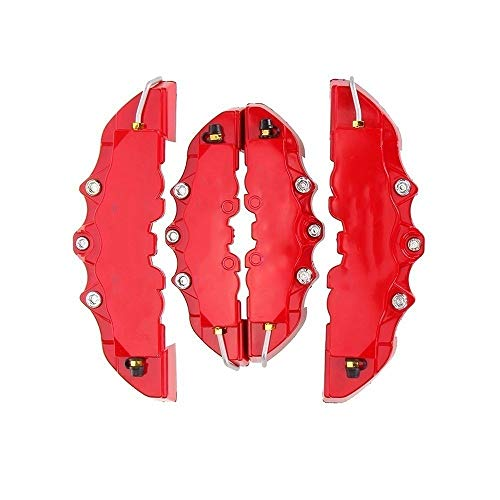 4PCS de alta calidad de plástico ABS coche universal rojo coche universal de freno de disco de freno cubre la parte posterior delantera automática Kit de decoración universal Kit de decoración para