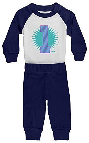HARIZ HARIZ Baby Pyjama Geburtstag Gepunktet 1 Geburtstag Kinder Baby Plus Geschenkkarten Weiß/Navy Blau 12-18 Monate