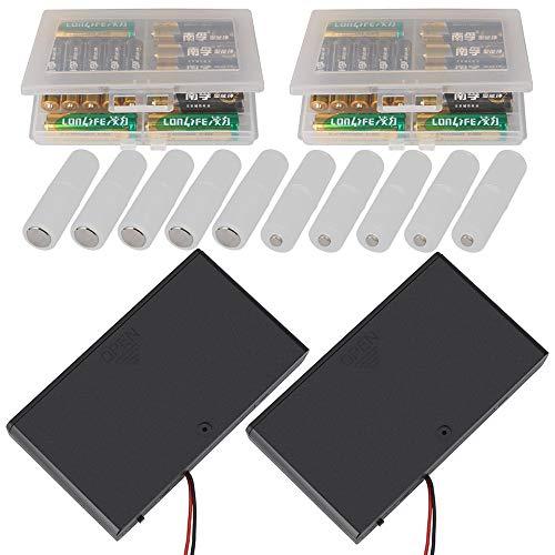 GTIWUNG 2 x 8AA 12V Portapilas con Cables de Interruptor ON/Off + 2 x Caja de Batería de Plástico(10 Secciones + 10 x AAA a AA convertidor de batería Caja