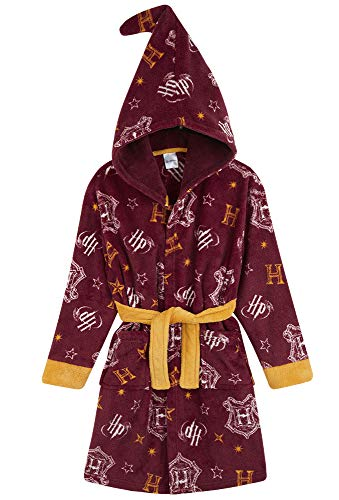 HARRY POTTER Robe De Chambre Polaire Enfant - Peignoir Pilou Gryffondor avec Capuche de Magicien - Taille Unisexe Garcon Ou Fille 7-14 Ans (Bordeaux, 9-10 ans)