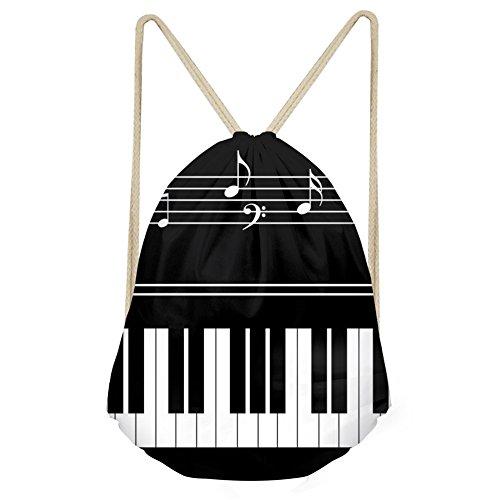 Coloranimal Black White Piano Key Music Note Gift Drawstring Backpack Shoulder Bag Yoga Gymsack Travel Shopping Tote