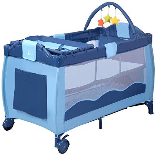 COSTWAY Cuna de Viaje Dos Capas Baby Playpen Bebé Cama con Colchón + Accesorios Bolas Plegable (Azul)