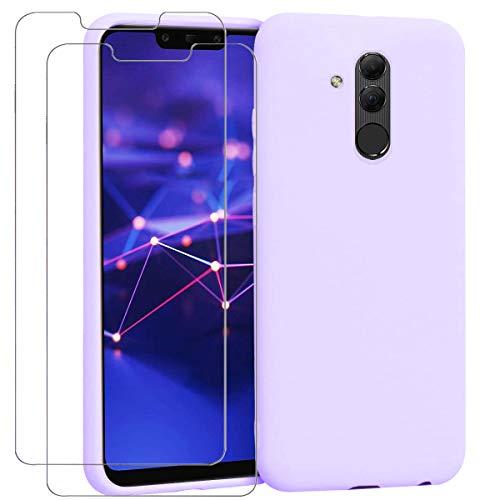 "Ingen - Funda para Huawei Mate 20 Lite + 2 Pack Protector de Pantalla, Funda Suave de Silicona Líquida con tapete de Microfibra Anti-Rasguño. para Huawei Mate 20 Lite 6.3"".Púrpura."