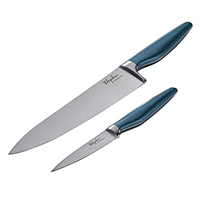 Ayesha Curry Cutlery Japanese Stainless Steel Knife Cooking Knives Set with Sheaths, 8 Inch Chef Knife and 3.5-Inch Paring Knife, Twilight Teal Blue