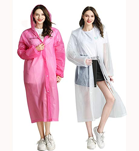 "HLKZONE Raincoat, [Pack of 2] Portable EVA Raincoats Reusable Rain Coats with Hood and Elastic Cuff Sleeves, Size 59"" by 27.5"""