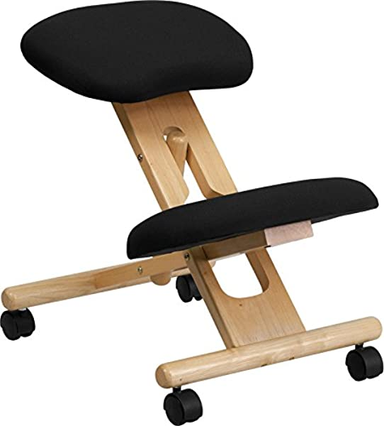 Emma Oliver Mobile Wooden Ergonomic Kneeling Office Chair In Black Fabric