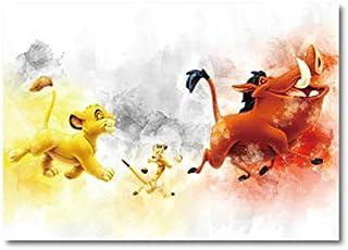 REDWPQ Aquarelle Impression Mur Art Toile Affiche Le Roi Lion Art Peinture Enfants Cadeaux Home Wall Decor 40 * 50 Cm sans...