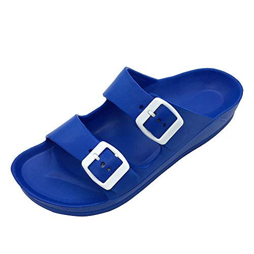 LUFFYMOMO Adjustable Slip on Eva Double Buckle Slides for Womens(8 M US Royal Blue)