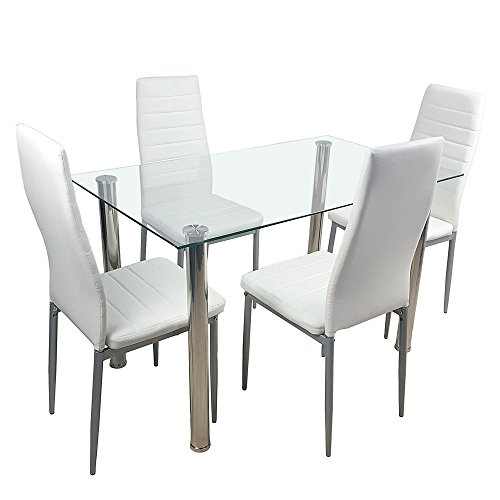 richlyforme Dining, 1 Table White Glass and 4 Chairs Leather