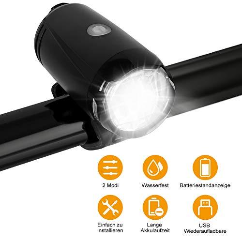 Sanfant Fahrradlicht Vorne, StVZO Zugelassen, USB Fahrradbeleuchtung, 2 Licht-Modi IPX4 Wasserdicht, Fahrradlampe Vorne für Nachtfahrer, Radfahren und Camping(Schwarz)