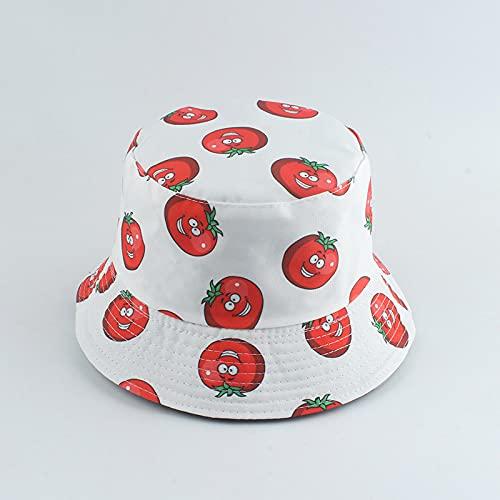 YUHOOE Vegetables Tomato Print Fisherman Hat Panamá Summer Sun Sombreros para Hombres Mujeres Outdoor Bush Hats Reversible Bucket Hat Sombrilla,Blanco,55,59Cm