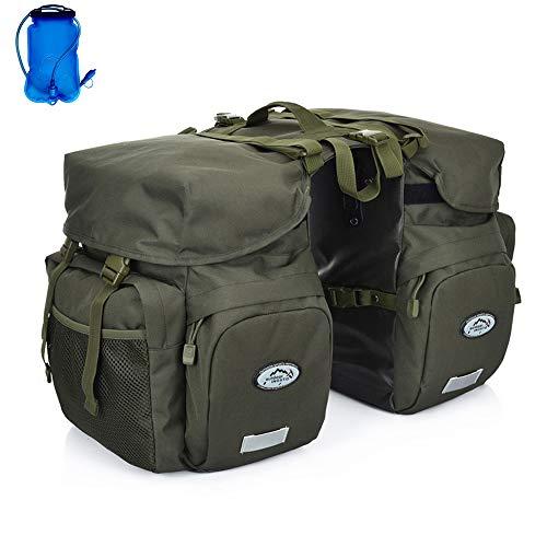 Inoxto Gepäckträger-Gepäckträgertasche, 50 l, großes Fassungsvermögen, wasserdicht, doppelte Rückfahrradtasche, mit Regenschutz und 2 l BPA-freier Trinkblase, optionaler Trinkrucksack, armee-grün