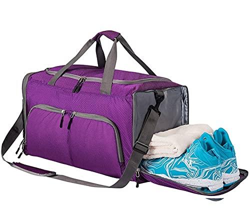 Egdu Bolsa de Deporte para Gimnasio con Compartimento para Zapatos, separación en seco y húmedo, Impermeable, Resistente al Desgaste para Entrenamiento, Viajes, Yoga (52 * 30 * 28 cm),Púrpura