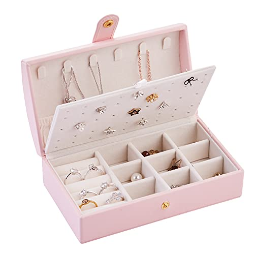 Caja de Joyería, Joyero Simple Portátil, Anillo Joyero Caja de Almacenamiento de Pendientes, Caja de Regalo para Niñas, Mujeres,Pink
