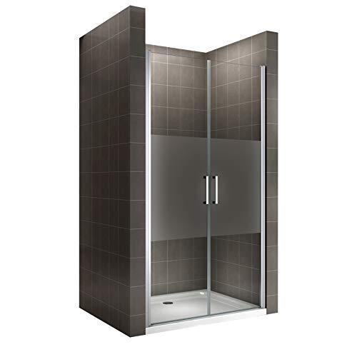 i-flair Duschtür Verstellbereich von 68-140 cm, Höhe: 180-195 cm, Duschabtrennung aus 6 mm durchsichtigem ESG Sicherheitsglas mit Nanobeschichtung und Edelstahlgriffen - NM (77-80 cm Höhe: 180 cm)