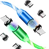 LED Flowing Magnetic Charger Green Blue Cable Light Up Candy Moving Shining Charger Phone Charging Cable Magnetic Streamer Absorption USB Snap Quick Connect 3 in 1 USB Cable
