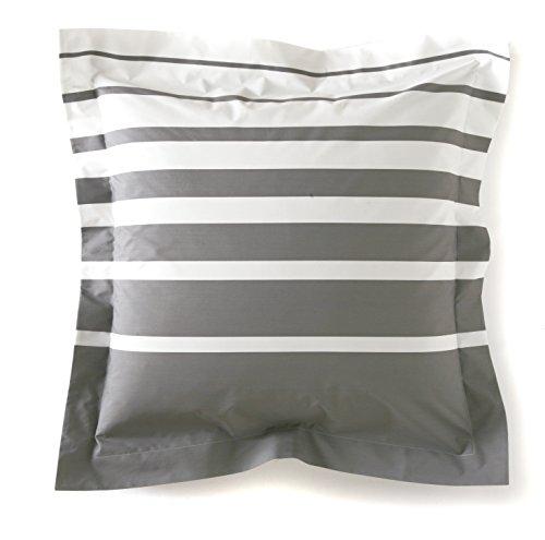 Blanc des Vosges Grand Large Taie carrée Acier 65 x 65 cm - Percale 100% coton