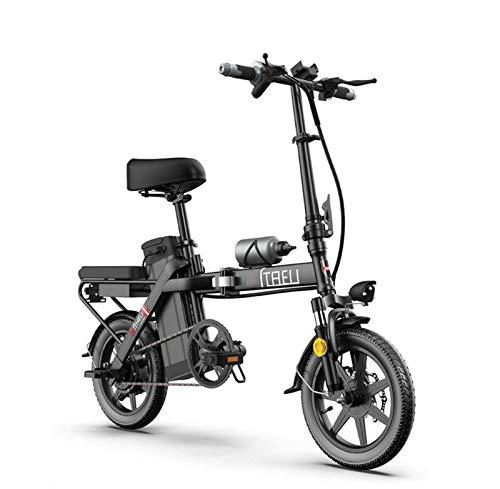 Adulto Pequeño Mujeres Bicicleta eléctrica, batería de Litio de 48V, Mini Plegable Bicicleta eléctrica, 14inch Ciudad E-Bicicletas con Medidor Inteligente,Negro,25KM