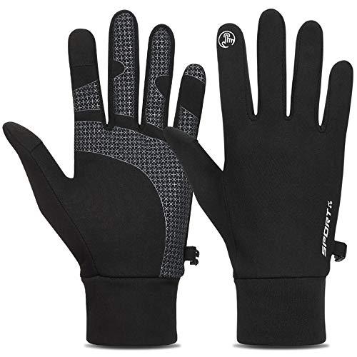 TOLEMI Winterhandschuhe Laufhandschuhe Thermohandschuhe Warme Handschuhe Anti-Rutsch-Touchscreen-Handschuhe für Herren Damen Sport Walking Reiten Radfahren – Schwarz, L