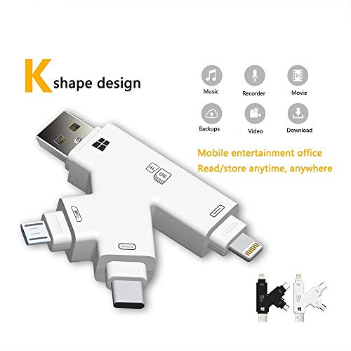 Yiwa kaartlezer SD USB 2.0 Multifunctionele Lightning type C 4 in 1 interface USB Micro USB Design K voor iPhone iPad iPod Touch, Wit.