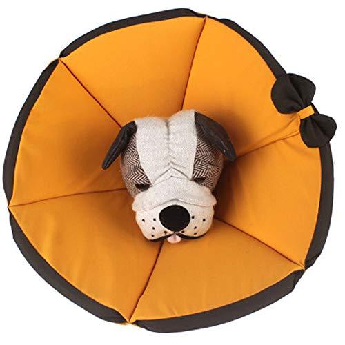 Komii エリザベスカラー 犬用 猫用 特大 軽量 布製 柔らかい 防水 耐久性 傷口保護 傷舐め防止 引っ掻き防止 調節可能 小型中型の大型犬猫に適しています (3XL, イェロー)