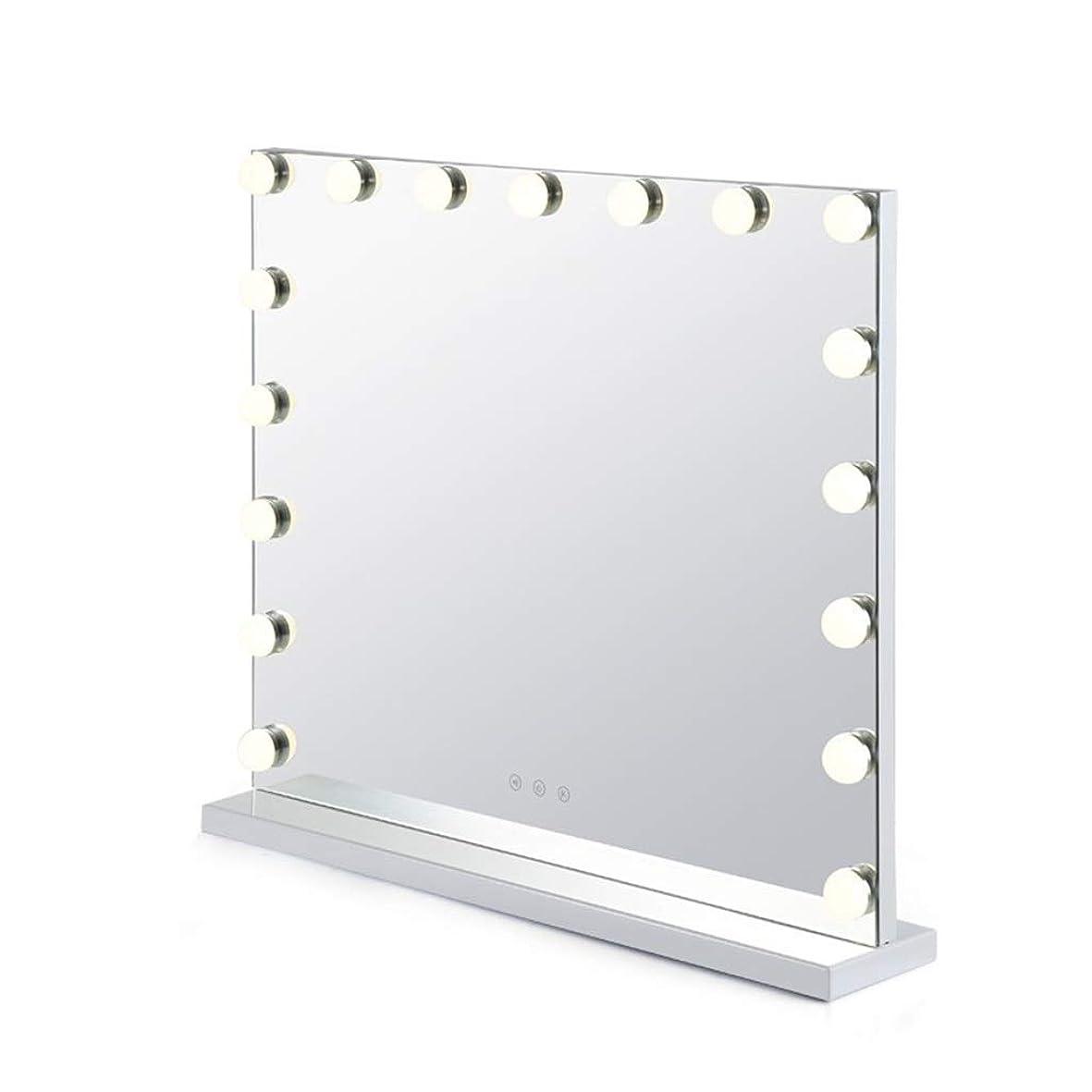 自治的哺乳類キャリアSelm LEDライト付きバニティミラー 長方形 タッチスクリーンと調光対応 15の調光対応電球があります 寝室、浴室、化粧台に適しています (色 : 白, サイズ さいず : 54cmX62cm)